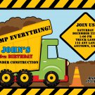 Green Dump Truck Construction Zone Birthday Invitations