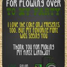 Green Tractor Golden Yellow Burlap Birthday Thank you notes
