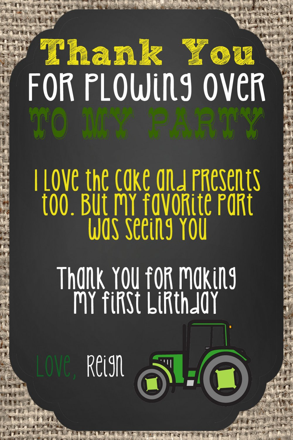Green Tractor Brown Burlap Birthday Thank you notes
