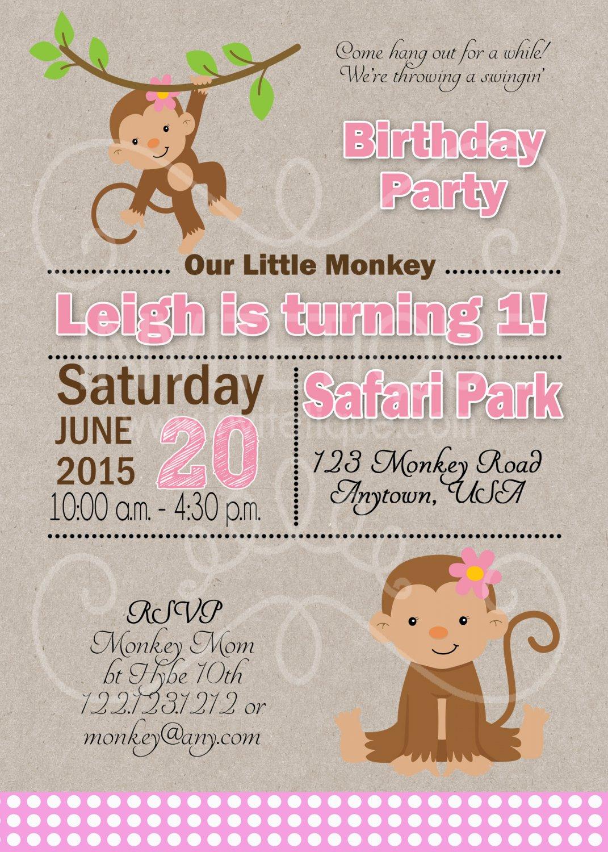 Monkey Birthday Invitation | Girl 1st Birthday | Girl First Birthday | Jungle Birthday Invitation