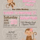 Monkey Birthday Invitation | Girl 1st Birthday | Girl First Birthday | Jungle Birthday Invitation