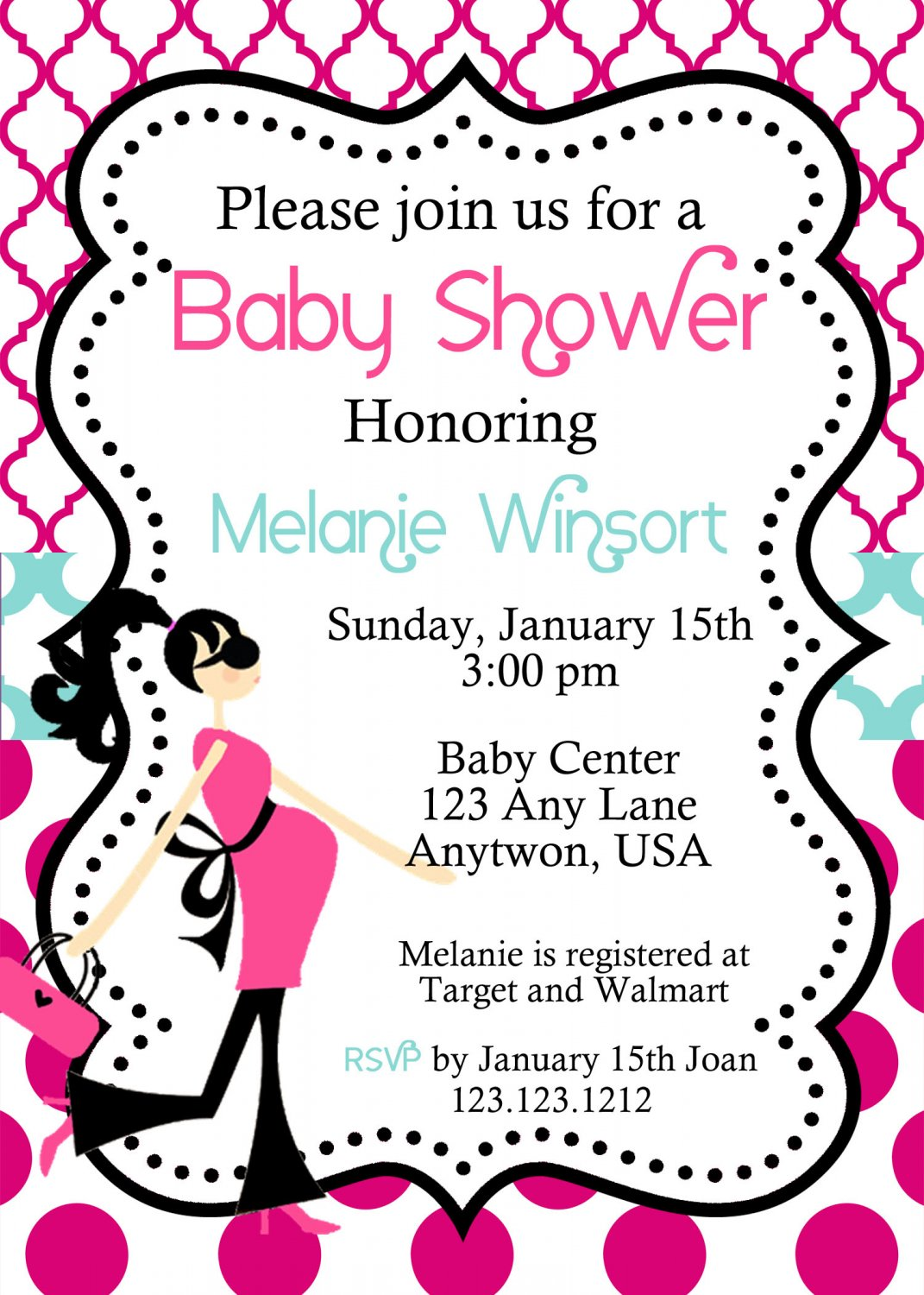 Modern Mom to be Baby Shower Invitations