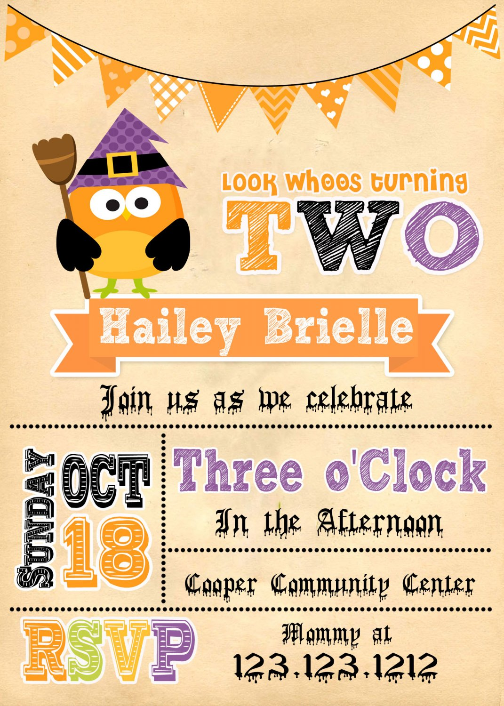 WITCH OWL BIRTHDAY INVITES  Halloween Invitations