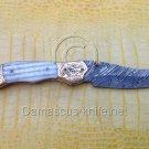 Antique-III Custom Damascus Handmade Folding Knife - Liner Lock (ARS-806)