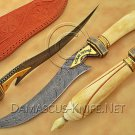 Handmade Damascus Steel Collectible Hunting Knife Bone Handle DHK899