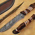 Handmade Damascus Steel Collectible Hunting Knife Wood Handle DHK884