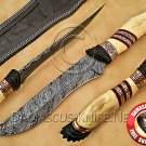 Handmade Damascus Steel Collectible Hunting Knife Bone Handle DHK892