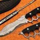 Custom Handmade Damascus Steel Sanmai Trench Hunting Knife NB0967K