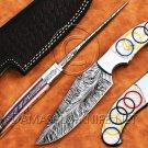 Custom Handmade Damascus Steel Tapper Tang Pearl Olympic Skinner Hunting Knife NB0954K