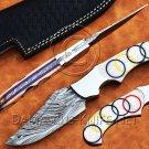 Custom Handmade Damascus Steel Tapper Tang Pearl Olympic Skinner Hunting Knife NB0955K