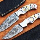 Lot of 2 Custom Handmade Damascus Steel Tapper Tang Pearl Olympic Skinner Hunting Knife NB0956K