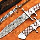 Custom Handmade Damascus Steel Loveless Big Bear Sub-hilt Fighter Hunting Knife NB0957K