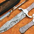 Custom Handmade Damascus Steel Loveless Coffin Bowie Fighter Hunting Knife NB0958K