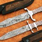 Lot of 2 Custom Handmade Damascus Steel Tapper Tang Bob Loveless & Coffin Hunting Knife NB0959K