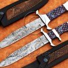 Lot of 2 Custom Handmade Damascus Steel Tapper Tang Bob Loveless Hunting Knife NB0962K