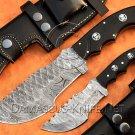 Lot of 2 Handmade Damascus Steel Tracker Knife Survival Knife Camping Knife Free Shipping NB0974K