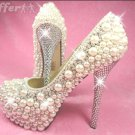Hand made Pearl and Crystal Bridal Formal Pump