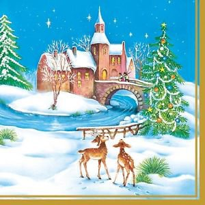 20 pcs Paper Napkins for Decoupage, Collage - Christmas Theme with deer and doe