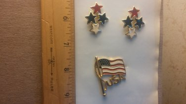 U S A pin and earrings