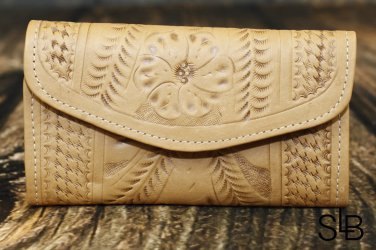 Tooled Leather Natural Checkbook Wallet - RW6468