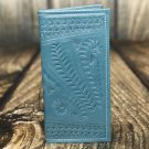 Ropin West Turquoise Tooled Leather Checkbook Cover - RW567