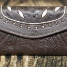 Tooled Leather Filigree Wallet - Brown-Pearl - RWE6468