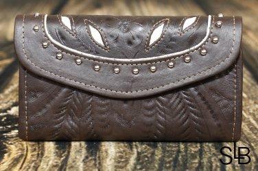 Tooled Leather Filigree Wallet - Brown-Pearl - RWE6468