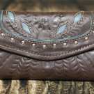 Tooled Leather Filigree Wallet - Brown-Turquoise - RWE6468