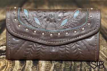 Tooled Leather Filigree Wallet - Brown-Turquoise - RWE6468