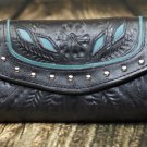 Tooled Leather Filigree Wallet - Black-Turquoise - RWE6468
