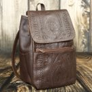 Ropin West Brown Tooled Leather Small Backpack Purse - RW283