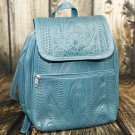 Ropin West Turquoise Tooled Leather Backpack Purse - RW382