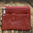 Ropin West Red Tooled Leather Coin Purse - RW8967