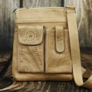 Tooled Leather Concealed Natural Handbag - RW8408
