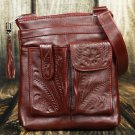 Tooled Leather Concealed Red Handbag - RW8408