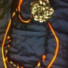 Cool 1 Of A Kind Amys Designs SCARF NECKLACE ,Black,orange & Blue. Camo Flower