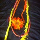 1 Of A Kind Amys Designs SCARF NECKLACE ,Multicolor Cool Orange Flower