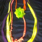 1 Of A Kind Amys Designs SCARF NECKLACE , Multicolor. Cool Green Flower