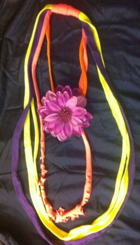 1 Of A Kind Amys Designs SCARF NECKLACE , Multicolor. Cool Pink Flower