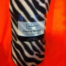 """ZEBRA"" ANIMAL PRINT FLEECE THROW BLANKET 50"" X 60"" NEW IN WRAPPER"