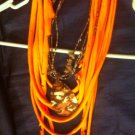 CLassy Cool 1Of A Kind Amys Designs Orange SCARF NECKLACE With Camouflage Charm