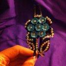 DESIGNS BY AMY BEAUTIFUL BLUE FLOWER RHINESTONE BLACK HEADBAND! MADE IN USA
