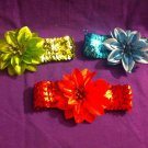 DESIGNS BY AMY SEQUIN FLOWER HEADBAND  PICK YOUR FAVORITE COLOR  MADE IN USA