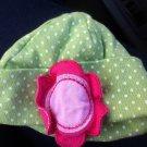 Cute Green & White Polka Dot Gerber Newborn Girl Caps Hat With Pink Flower