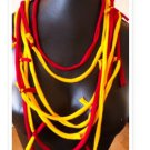 Designs By Amy One Of A Kind  Scarf Necklace Red & Yellow Cotton Fabric~Handmade