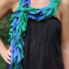 Designs By Amy 1Of A Kind Blue & Green Ruffled ScArf Handmade