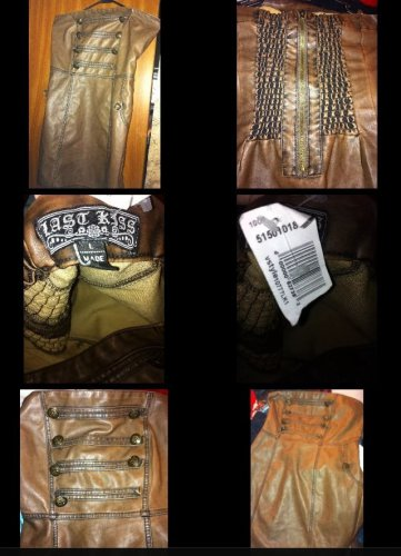 HOT KISS Brown Strapless Faux Leather Dress Size Large