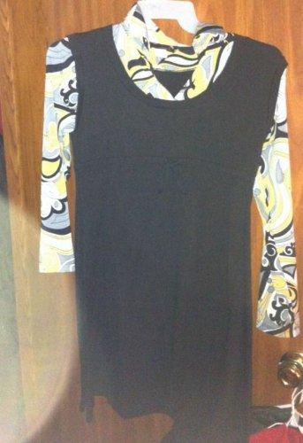 Hypnotic Really cute Retro 70's Long Sleeve Black/gray/yellow dress size L