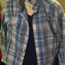 Boys Youth Large Blue & White plaid Shirt Long Sleeved Button Up