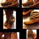 Fab Brown Suede Boots with Faux Fur Lining Size 10M EUC